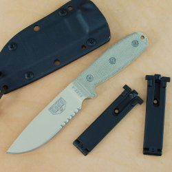 Esee 4 Survival Knife Desert Tan Combo Edge Blade Molle Back Sheath 4S-Mb-Dt