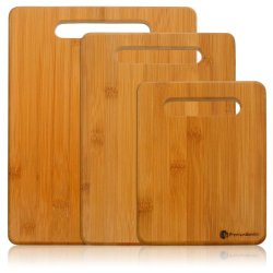 Bamboo Cutting Board Set - 3-Piece Small, Medium, And Large Strong Bamboo Wood Cutting Boards With Handle By Premium Bamboo