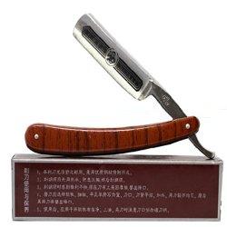 Generic Folding Stainless Steel Straight Edge Barber Razor Shaving Shaver Knife Blades Brown