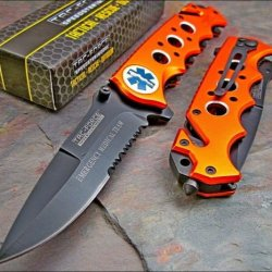 Tac-Force Orange Emt Glass Breaker Belt Cutter Rescue Knife New
