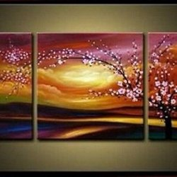 Sangu Gift 100% Hand-Painted Hot Selling Free Shipping Framed 3-Piece Pink Flowers Plum Tree Oil Paintings Canvas Wall Art For Home Decoration(10X20Inchx2,20X20Inchx1)