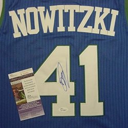 Dirk Nowitzki Dallas Mavericks Autographed Blue Throwback #41 Jersey Jsa Coa