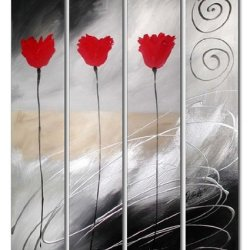 Sangu Wood Framed Rising Light Flowers Home Decoration Modern Oil Painting Gift On Canvas 4-Piece Art Wall Decor