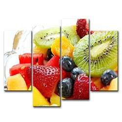 4 Piece Wall Art Painting Salad Kiwi Strawberry Mango Watermelon Colourful Fruits Pictures Prints On Canvas Food The Picture Decor Oil For Home Modern Decoration Print