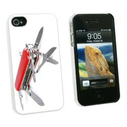 Graphics And More Multi-Function Knife Screwdriver - Snap On Hard Protective Case For Apple Iphone 4 4S - White - Carrying Case - Non-Retail Packaging - White