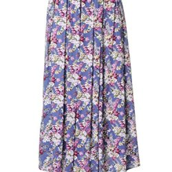 Anna-Kaci S/M Fit Blue All Over Floral Print Knife Pleat Belted Waist Maxi Skirt