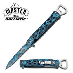 "Master Usa Ballistic ""Languish"" Ao Knife With Bottle Opener - Blue Camo Skull Design"