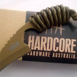Hardcore Hardware Australia Lfk01-T Tactical Knife Tan Teflon Finish Coyote Para-Cord Handle Multicam Sheath