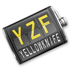 8Oz Flask Stitched Yzf Airport Code For Yellowknife Stainless Steel - Neonblond
