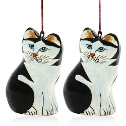 Decor Paper Mache Hanging Ornament Pair Of Cats For Valentine Tree 3.75 Inch