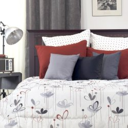 Petal 'Modern Floral' Comforter Set In Silver, Red, Grey And Black (3 Pieces)