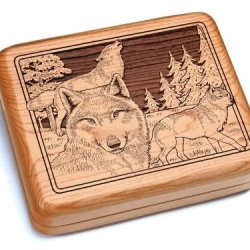 "5X6"" Box With Double Pocket Knives - Wolf Pack"