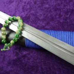 Blue Handle Tang Sword Sale/Full Tang/Handmade/Damascus Steel/Rosewood Scabbard