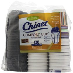 Chinet Comfort Cup (16-Ounce Cups), 50-Count Cups & Lids