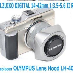 Ezfoto Silver Bayonet Mount Lens Hood For Olympus M.Zuiko 14-42Mm F/3.5-5.6 Ii Lens, Replaces Olympus Lens Hood Lh-40