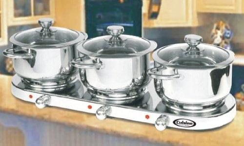 Image of Cuisine Cookware Triple Burner 7Pc Buffet Set - Stainless Steel 7PCTBS (B002N6JI7A)
