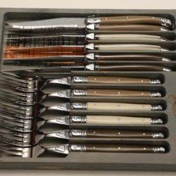 Jean Dubost Laguiole 12-Piece Knife Set, Linen