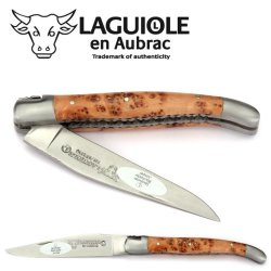Laguiole En Aubrac Handmade Knife 11 Cm Double Platines L0711Geif Juniper Wood Handle, Blade And Bolsters Stainless Steel