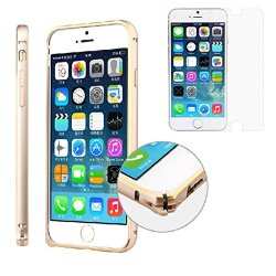 "Bessky(Tm) 1Pc Hot Press,4.7"" Metal Bumper Frame Case+Tempered Glass Film Screen Protector For Iphone 6"