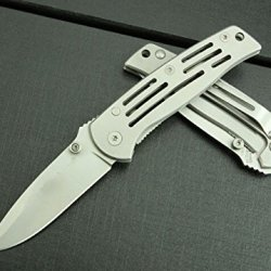 Silver Outdoor Titanium Folding Blade Steel Line Lock Knife Wcsw3300-5.90''