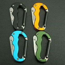 Multi Tool Survival Knife Multi-Function Outdoor Climbing Buckle Hd-4.52'' (Blue)