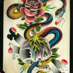 Blue Death By Tony Carey Snake Rose And Skull Crossbones Tattoo Canvas Art Print