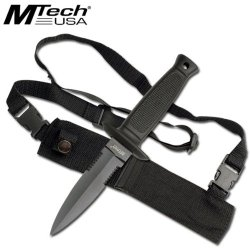 """Mt-493 """" Special Agent """" Full Qtefuipz Tang Jk8Rpams Boot Knife W/ Shoulder Harness Ayeuiu56 Hlbv23Rt """" Special Agent"""" Full Tang Boot Knife. All Black Fjeasnun Stainless Steel Blade. Rubber Grip 4Cypvybkdz Handle. Includes Shoulder Harness Carrying Case."""