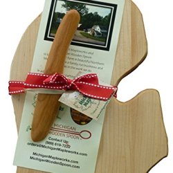 Michigan Maple Cheese Board Gift Set With Small Cherry Wood Spreader (Michigan Lower Peninsula Mitt Shaped Board)