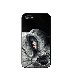 Dh-Hoping (Tm) Cell Phone Case For Personalizatied Custom Picture Iphone 5C Inch High Impackt Combo Soft Silicon Rubber Hybrid Hard Pc & Metal Aluminum Protective Case With Customizatied Skull Black Art Retro Style Luxurious Pattern (Skull-01)