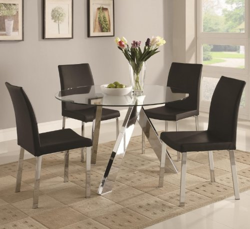 Image of 5pc Dining Table Set with Glass Top in Chrome Finish (VF_DINSET-100498-120762)