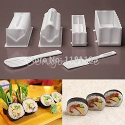 10Pcs1Set Plastic Kit Sushi Tools Rice Ball Set Diy Japanese Porphyrilic Cake Roll Mold Sushi Multifunctional Mould Suit Maker