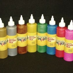 School Smart Metallic Glue - 8 Ounce Bottles - Set Of 8 - Assorted Colors