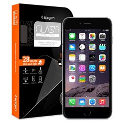 Iphone 6 Plus Screen Protector, Spigen® Iphone 6 Plus (5.5) Screen Protector Glass Slim [Glas.Tr Slim] (0.4Mm) Rounded Edges Glass Screen Protector For Iphone 6 Plus (5.5) (2014) - Glas.Tr Slim (Sgp10878)