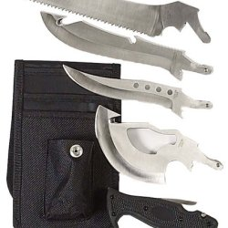 4 In 1 Outdoorsman Blade / Knife Set With Belt Pouch