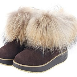 Milanao Women Winter Leather Wedge Thick Soles Sponge Fox Fur Short Snow Boots(7 B(M)Us,Chocolate)