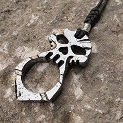 Double-Sided Three-Dimensional Evil Ferocious Holy Spirit Skull Skeleton Pendant Key Chain Self Defense Tool -Devil Eye