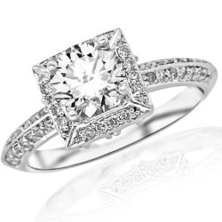 1.05 Carat Round Cut Knife Edge Victorian Square Halo Diamond Engagement Ring (H Color, Si2 Clarity)