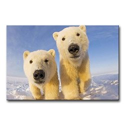 Wall Art Painting Polar Bear Cubs In The Ice Pictures Prints On Canvas Animal The Picture Decor Oil For Home Modern Decoration Print For Bedroom