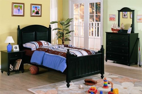 Image of New black finish wood twin childrens kids bedroom set (F9020)