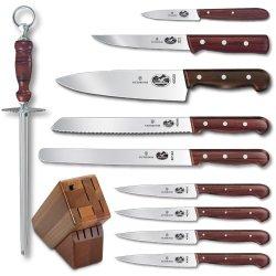 Victorinox 11-Piece Knife Set With Block, Rosewood Handles