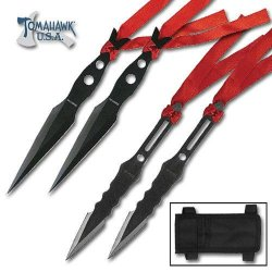 4 Piece Black Throwing Knife Set