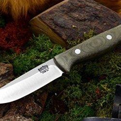 Bark River Gunny Hunter Fixed Blade Knife,3V Steel Blade,Green Canvas Micarta Handle 07-026Mgc