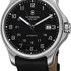 Victorinox Swiss Army Officer'S Men'S Black Dial Black Leather Strap Automatic Watch 241670.1 - With Knife