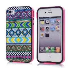 Meaci Apple Iphone 4 4S Case Combo Hybrid Smooth Hard Tpu Material With Pattern (Aztecs Tribe)