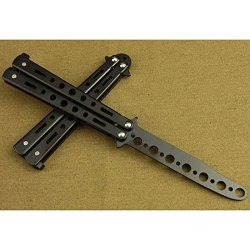 Huayang Safe Practice Butterfly Knife Foldable Trainer Safety Training Knife(Black)