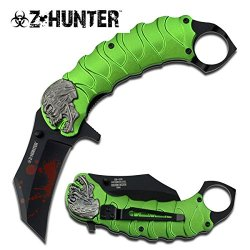 Zombie Tactical Black Assisted Opening Knife With Finger Ring Green W/ Pocket Clip (Limited Edition)