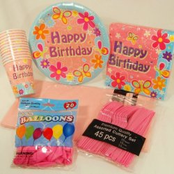Pink Flowers And Butterflies - Happy Birthday - Party Supply Pack For 12
