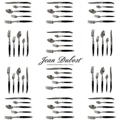 French Laguiole Dubost - Complete Flatware Set For 12 People (60 Pcs) - Black Color - In Heavier 25/10 Stainless Steel (Official Laguiole Cutlery Setting - Direct From France)