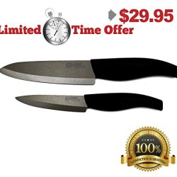 Ecojeannie Cks001 - 2 Piece Set - 6 Inch Chef'S Ceramic Knife And 4 Inch Paring Ceramic Knife With Advanced Coffee Color Ceramic Blades And Plastic Covers