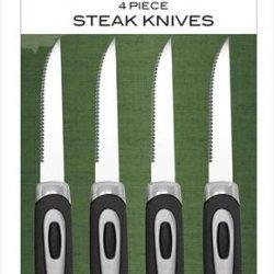 Coleman C04K219 4-Piece Steak Knives Set With Black Color Rubber Handles